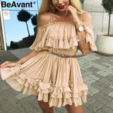 Off shoulder strap chiffon summer dresses Women ruffle pleated short dress pink Elegant holiday loose beach mini dress - Nude / S - dress