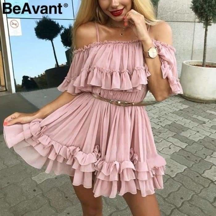 Off shoulder strap chiffon summer dresses Women ruffle pleated short dress pink Elegant holiday loose beach mini dress - Pink / S - dress