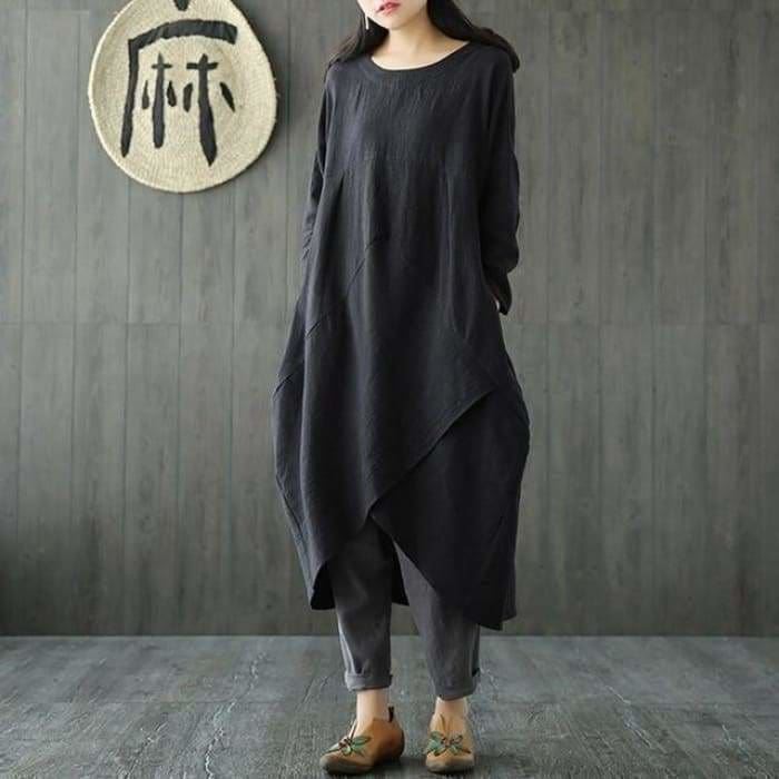 Plus Size Women Spring Crew Neck Long Sleeve Asymmetric Split Kaftan Solid Cotton Linen Mid Calf Dress - Black / L - Kaftan