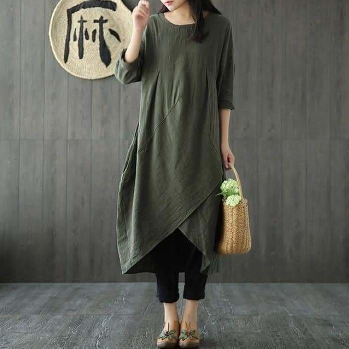 Plus Size Women Spring Crew Neck Long Sleeve Asymmetric Split Kaftan Solid Cotton Linen Mid Calf Dress - Army Green / L - Kaftan