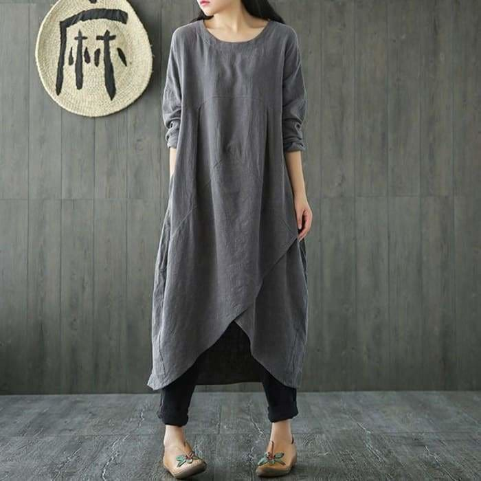 Plus Size Women Spring Crew Neck Long Sleeve Asymmetric Split Kaftan Solid Cotton Linen Mid Calf Dress - Kaftan