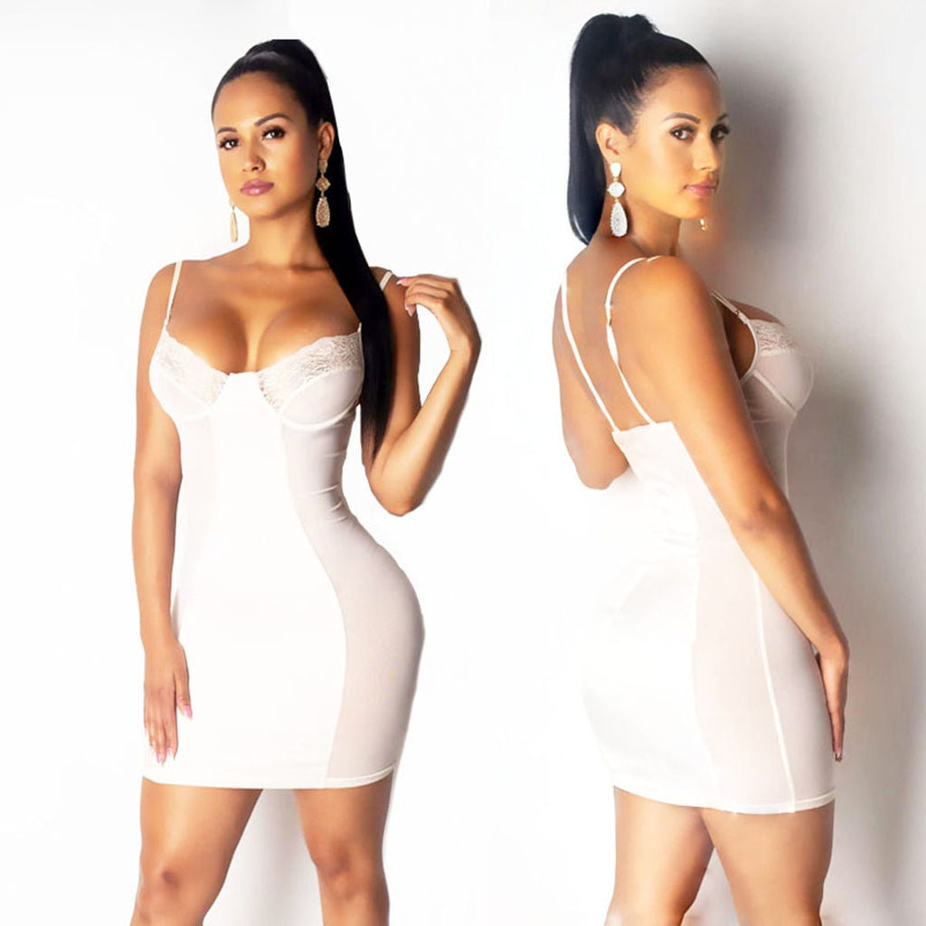 2020 Mesh Women Sexy Black and White Fashion Mini Bodycon Dress Plus Size M-3XL - Bibra.Store