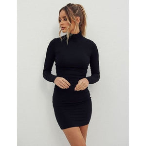 New stand collar long sleeve solid color sexy slim hip dress foundation dress - Black / XL - dress