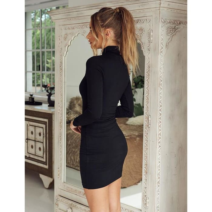 New stand collar long sleeve solid color sexy slim hip dress foundation dress - Bibra.Store