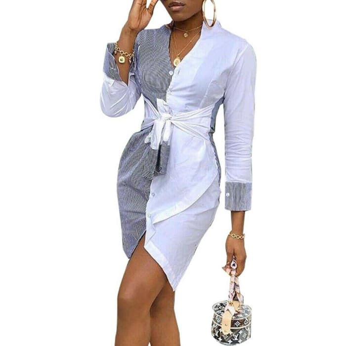 Fashion Shirt Dress Women Stripe Patchwork Short Summer Party Dress - dress