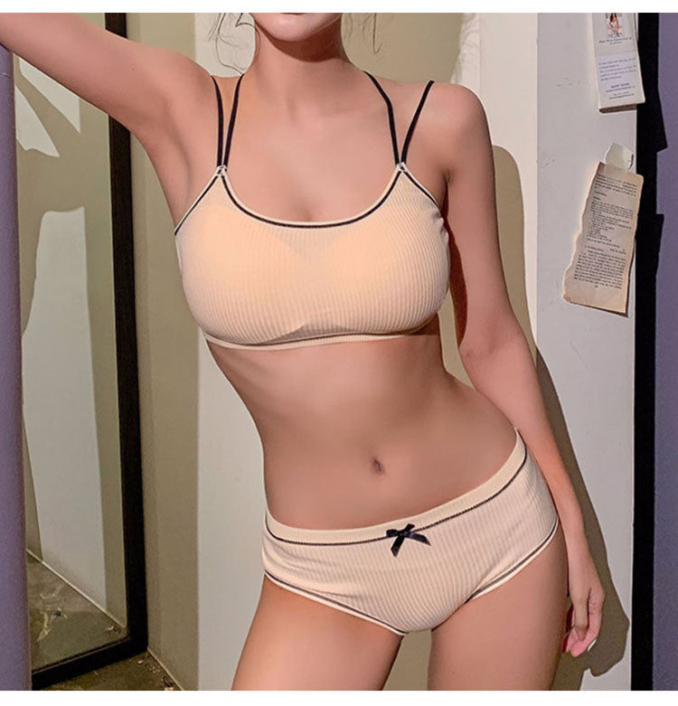 Cotton Thin Screw Thread Push Up Bra Lingerie Set Comfort Underwear