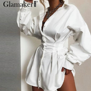 Batwing sleeve white mini dress Women office lady pleated blouse n high waist slim elegant short dress - dress
