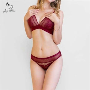2020 NEW Sexy Intimates Bra Set wire free Underwear Lace Lingerie Push Up bralette Comfortable Bra and panty Sets - lingerie