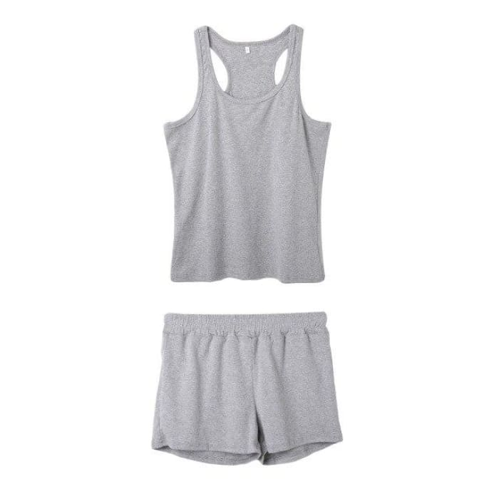 Women Two Piece Set Home wear Clothes  Women Sleeveless Vest+Hot Pants Cotton 2 Pieces Tracksuit Set - Bibra.Store