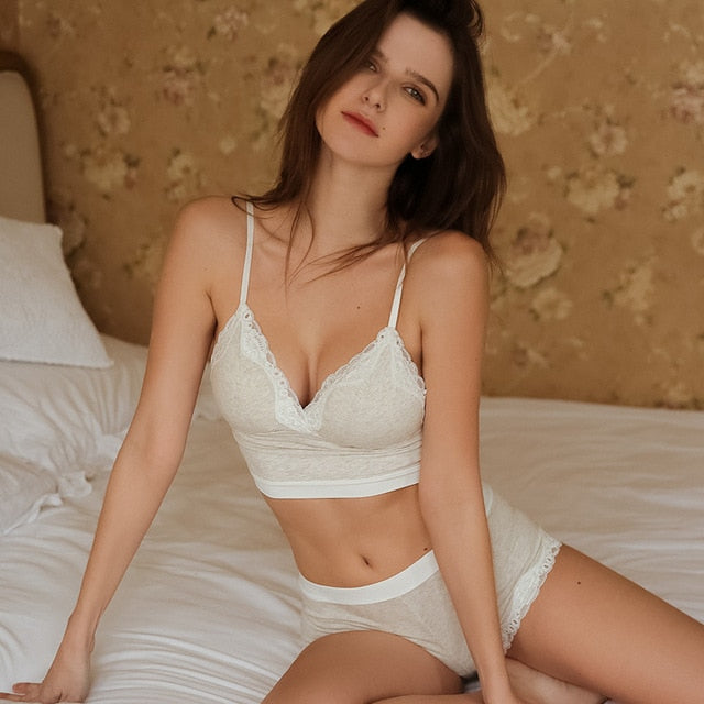Organic cotton thin Cup Wireless Broadside Bra With Underwear with Removable Padded Lingerie set - Bibra.Store