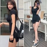 Buttons Summer Black  & white Short Sleeve mini Bodycon Sexy Party Dress for Women - Bibra.Store
