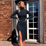 Sexy Knee-Length Party Cotton Ribbed Knitted Turtleneck Solid Split Long Sleeve Autumn Elegant Dress - Black / S - dress