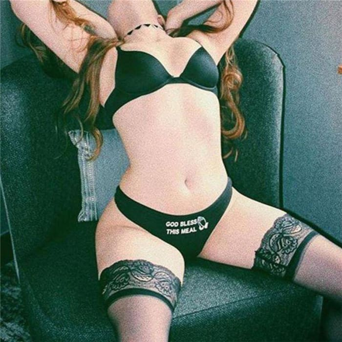 Letter Print Women Underpants Sexy Black White Seamless Lingerie and Cotton Briefs Panties - Bibra.Store