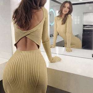Sexy Knee-Length Women Party Dress Ribbed Knitted Solid Hollow Out Hole Backless Long Sleeve Autumn  Dress