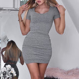 Sexy Backless Bodycon Mini Scoop Neck Short Sleeve Dress - Bibra.Store