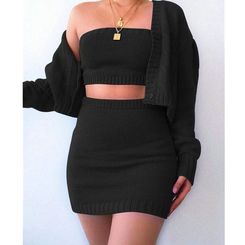 3Pcs Women wool Knitted Outfits Autumn Winter Solid Tube Crop Top + Mini Skirt + Long Sleeve Cardigan Sweater Sets - Bibra.Store