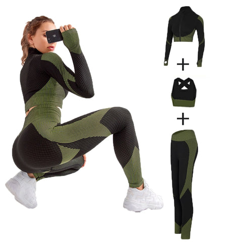 Seamless cotton Women Yoga Sets Female Sport Gym and Yoga Suit Long Sleeve - Bibra.Store