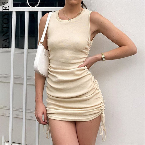100% Cotton Sexy Party Women Sleeveless Elastic Mini Dress Summer Bodycon Club Wear - Bibra.Store