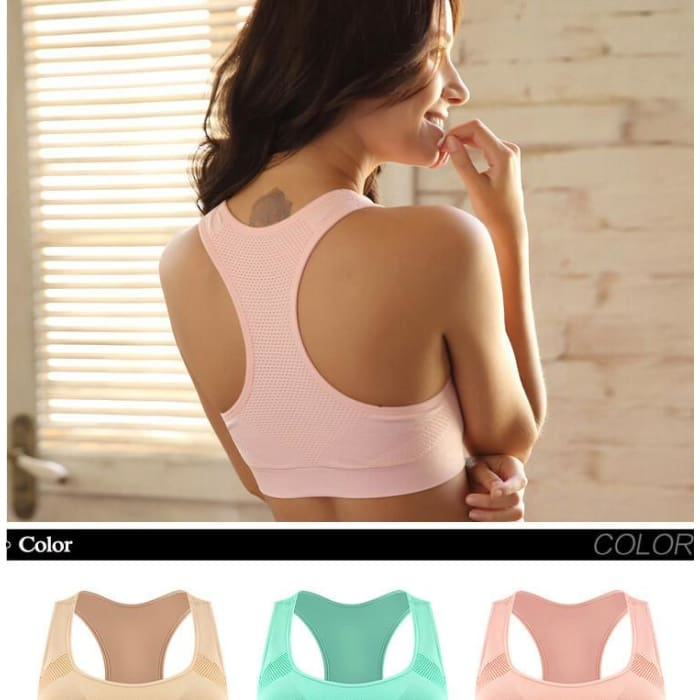 [5Colour/3size] Professional Absorb Sweat Top Athletic Running Sports Bra , Gym Fitness Women Seamless Padded Vest Tanks  M L XL - Bibra.Store