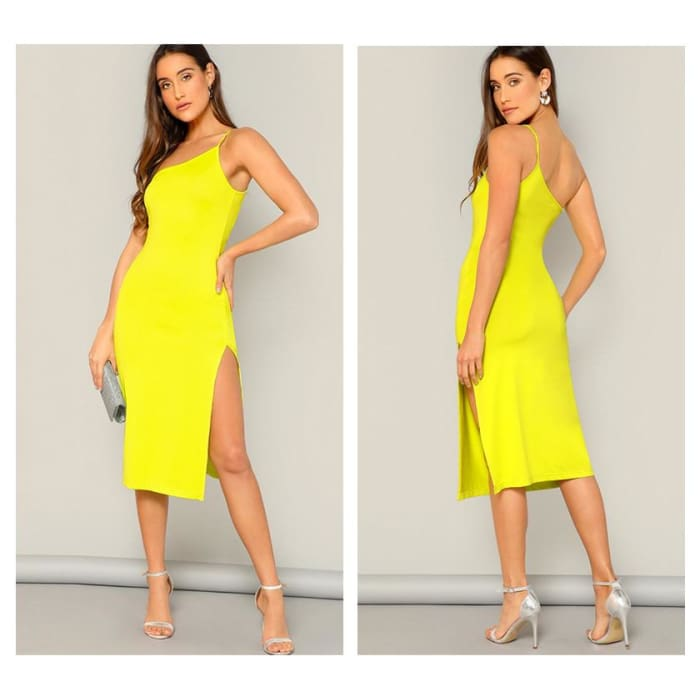 Neon Yellow Split Side One Shoulder Sexy Cami Summer Women 2019 Sleeveless Sheath Dress - dress