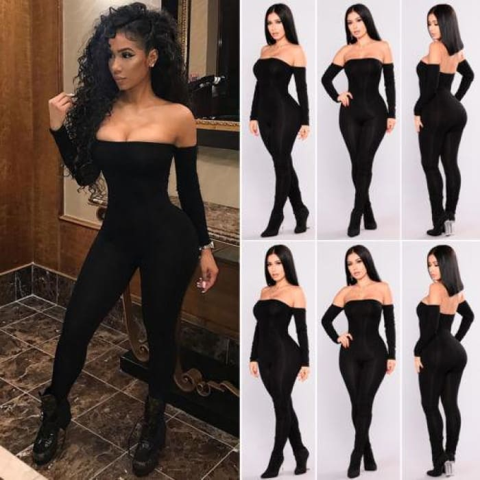 Autumn Women Off Shoulder Clubwear Bodycon Jumpsuit Romper - rompers