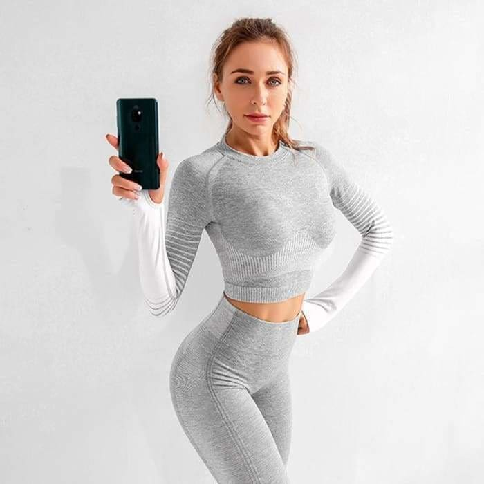 Seamless 2Pcs Female Cotton Yoga Set Long Sleeve Top High Waist Belly Control Sport Leggings Sport Suit - Bibra.Store