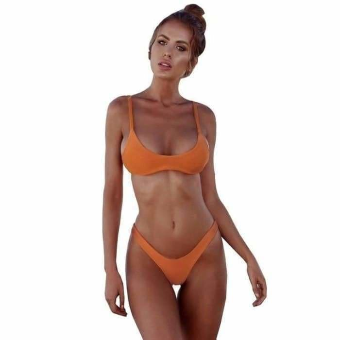 Sexy Bikini Set Women Swimsuit Solid Bikini Backless Swimwear Low Waist - 124-Coffee / S - Swimwear