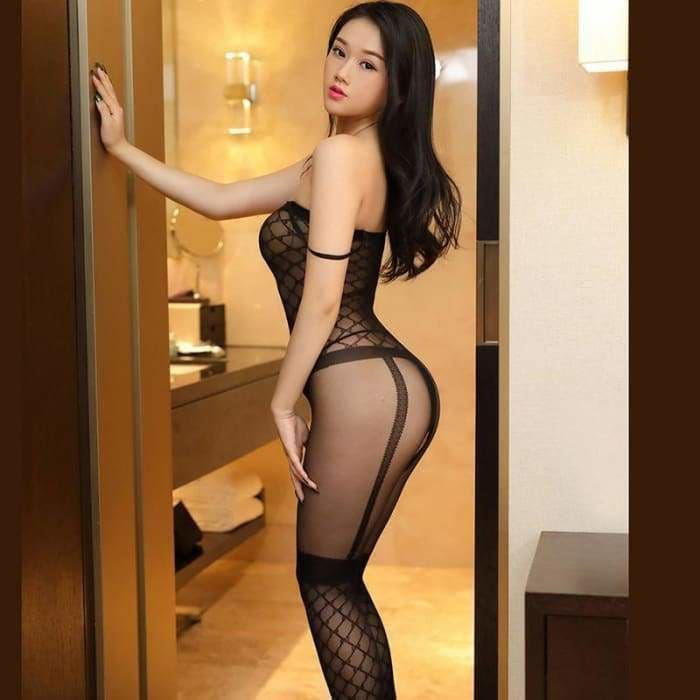 Sexy Black Grid Jacquard Garter Seamless Body Stockings Open Crotch Tight Erotic Lingerie Transparent - Bibra.Store