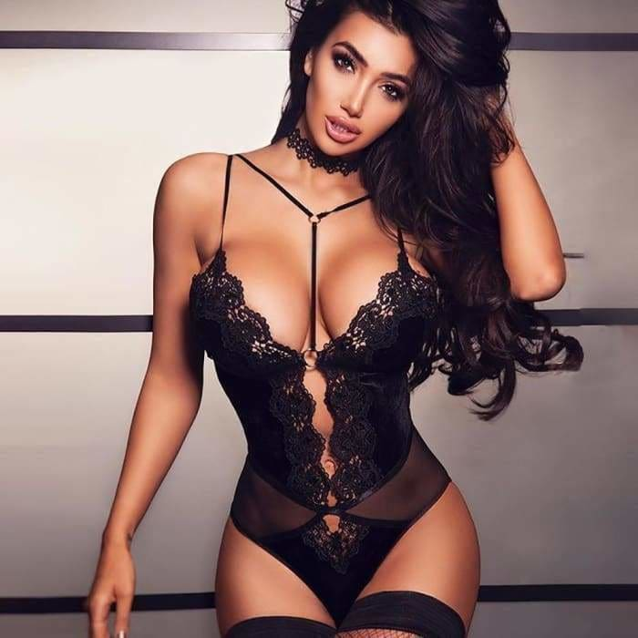 Sexy Club Wear Cut Out Halter Black Lace Bodysuit Women Deep V Neck Sleeveless Backless Romper Skinny lingerie - lingerie