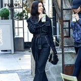 Sexy Denim Jumpsuit Women Romper Long Sleeve Belt Black/White Winter Autumn Jeans Jumpsuit Female - rompers