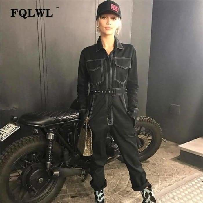 Sexy Denim Jumpsuit Women Romper Long Sleeve Belt Black/White Winter Autumn Jeans Jumpsuit Female - Black / L - rompers