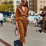 Sexy Denim Jumpsuit Women Romper Long Sleeve Belt Black/White Winter Autumn Jeans Jumpsuit Female - Khaki / L - rompers
