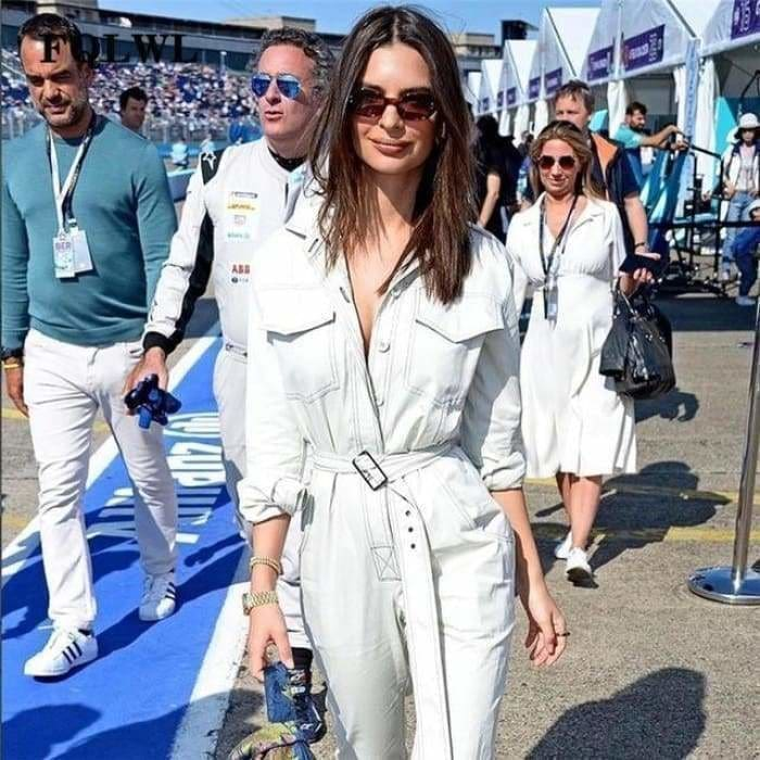 Sexy Denim Jumpsuit Women Romper Long Sleeve Belt Black/White Winter Autumn Jeans Jumpsuit Female - White / L - rompers