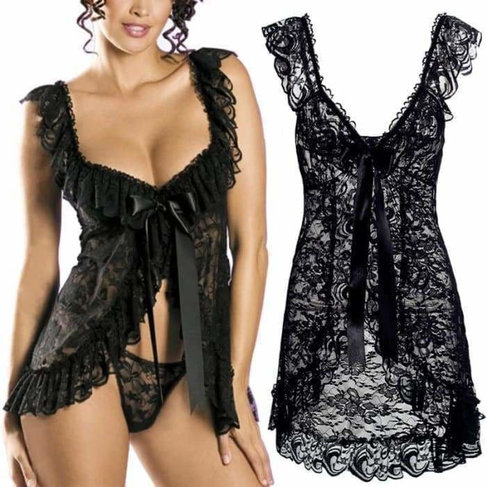 Sexy Lace Lingerie Dress Women Homewear Night Gowns + G-string Sexy Panties Nightwear Sleepwear Sets - Bibra.Store