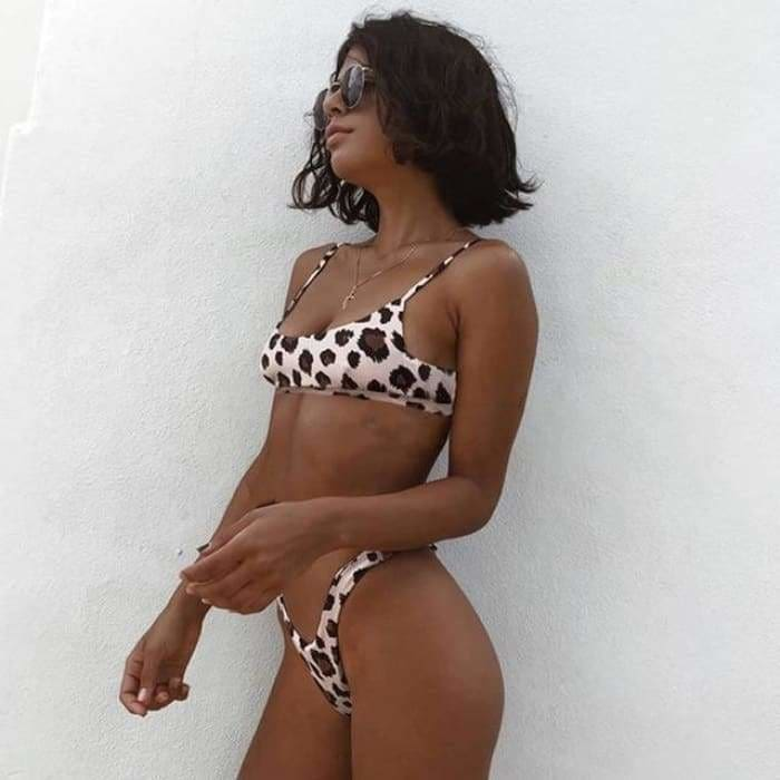 Sexy Leopard Bikinis 2019 Micro Bikini Set Push Up Thong High Cut Swimwear - AF1336 / L - Swimwear