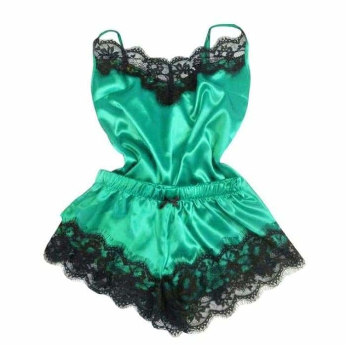 Sexy Lingerie Women Silk Lace Casual Loose Solid Sleeveless Dress Babydoll Nightdress Nightgown Sleepwear Summer Clothes - Green 1 / S -