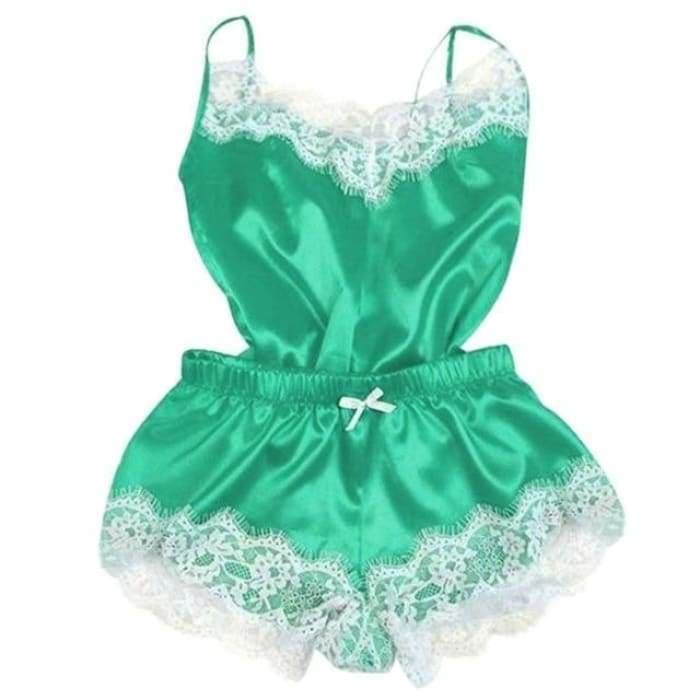 Sexy Lingerie Women Silk Lace Casual Loose Solid Sleeveless Dress Babydoll Nightdress Nightgown Sleepwear Summer Clothes - Green / M -
