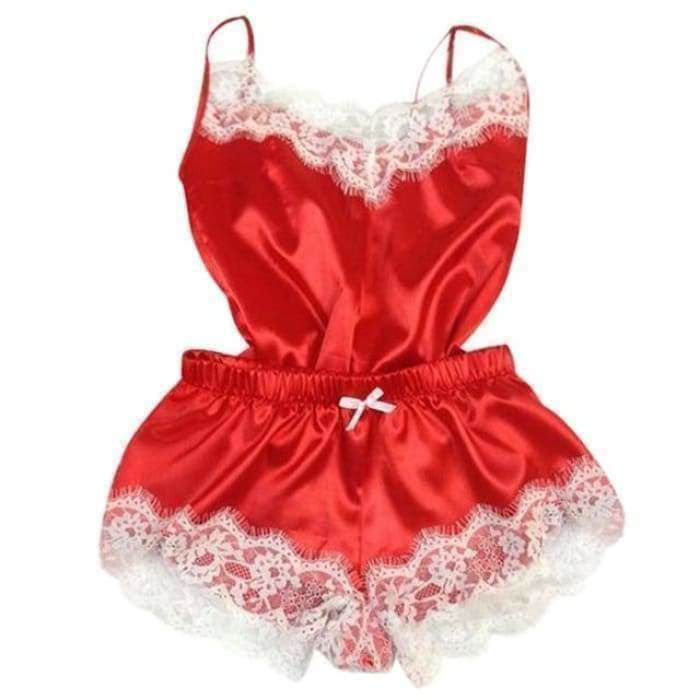 Sexy Lingerie Women Silk Lace Casual Loose Solid Sleeveless Dress Babydoll Nightdress Nightgown Sleepwear Summer Clothes - Red / L -