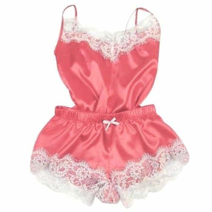Sexy Lingerie Women Silk Lace Casual Loose Solid Sleeveless Dress Babydoll Nightdress Nightgown Sleepwear Summer Clothes - Pink 1 / XL -