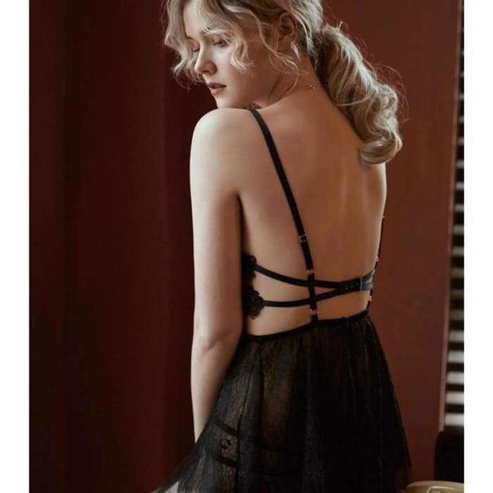 sexy mousse backless women sleep wear night gowns with thong sets V-neck lace - Bibra.Store