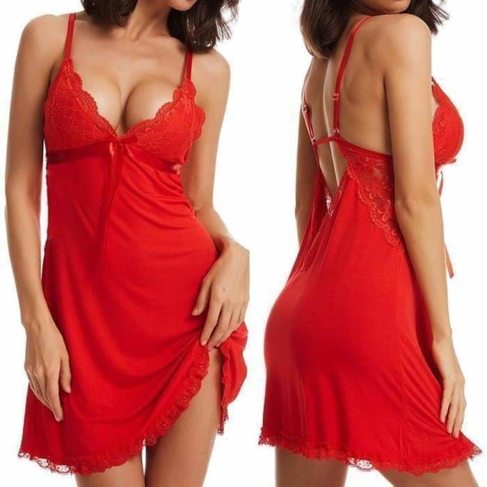 Sexy Nightgown Lingerie Open Back V-neck Fashion Lace Sexy Lingerie Plus Size Nightwear for Women - lingerie
