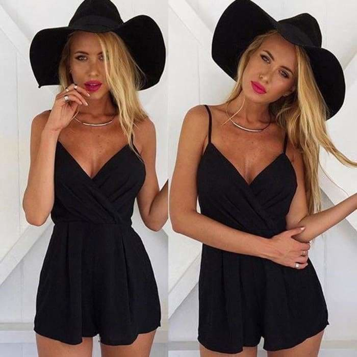 Sexy Playsuit Women Sleeveless Bodycon Black Elegant Jumpsuit Ladies Summer Romper V-Neck - rompers