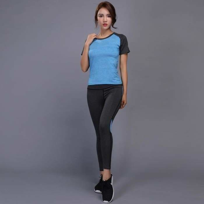 Sexy Yoga Set Women Fitness Running TShirt + Pants Breathable Gym Workout Clothes Compressed Yoga Leggings Sport Suit - Chi 4 / S / China -