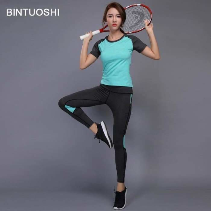 Sexy Yoga Set Women Fitness Running TShirt + Pants Breathable Gym Workout Clothes Compressed Yoga Leggings Sport Suit - activewear