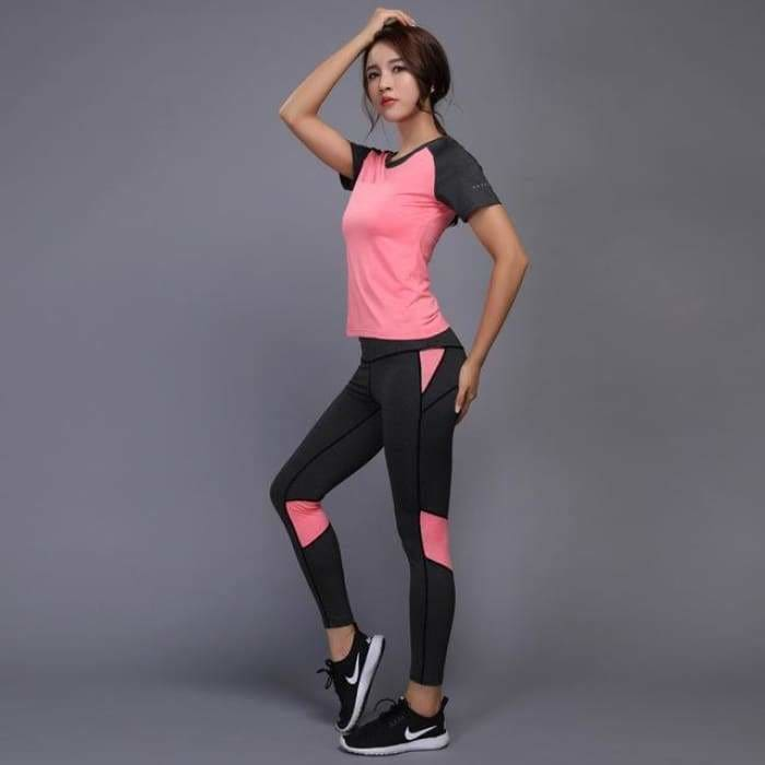 Sexy Yoga Set Women Fitness Running TShirt + Pants Breathable Gym Workout Clothes Compressed Yoga Leggings Sport Suit - Chi 12 / S / China -