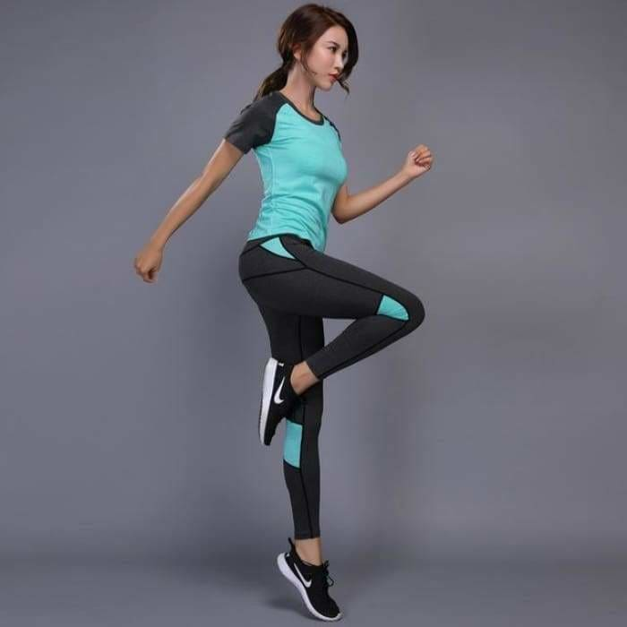 Sexy Yoga Set Women Fitness Running TShirt + Pants Breathable Gym Workout Clothes Compressed Yoga Leggings Sport Suit - Chin 16 / S / China