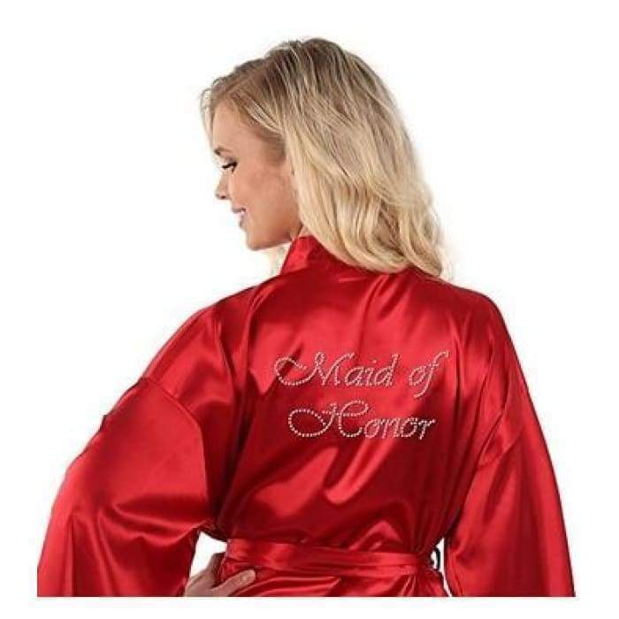 Sexy Yukata Night Robe Short Satin Wedding Bride Bridesmaid Robes With Clear Rhinestones-Bride&Bridesmaid Edition Dressing Gown - Bibra.Store