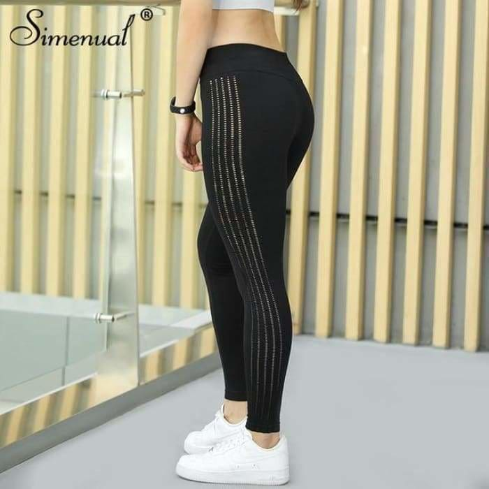 Simenual Sporting leggings for women 2018 polyamide bodybuilding fitness legging push up jeggings activewear athleisure pants - black / L -