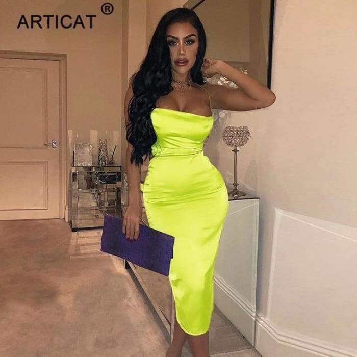 Spaghetti Strap Sexy Backless Summer Dress Satin Lace Up Bodycon Mini Dress - Green / L - dress