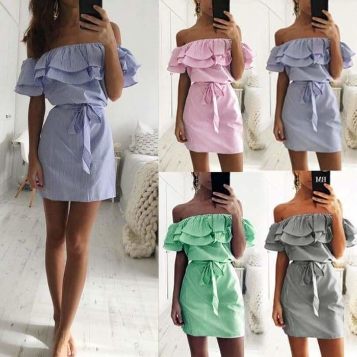 Striped Sashes Summer Dress Ruffle Collar 2019 Bandage Sundress - dress
